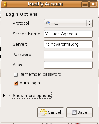 Nova Roma Chat IRC settings in GAIM
